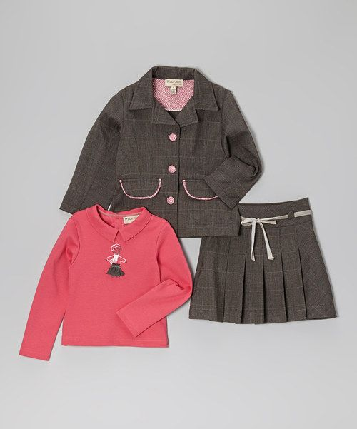 With a darling design on the top and pretty pleats on the skirt, this set soars with style. Top the ensemble with the coordinating jacket for a look that's both pretty and practical. Includes top, jacket and skirt100% cottonMachine wash; tumble dryImported