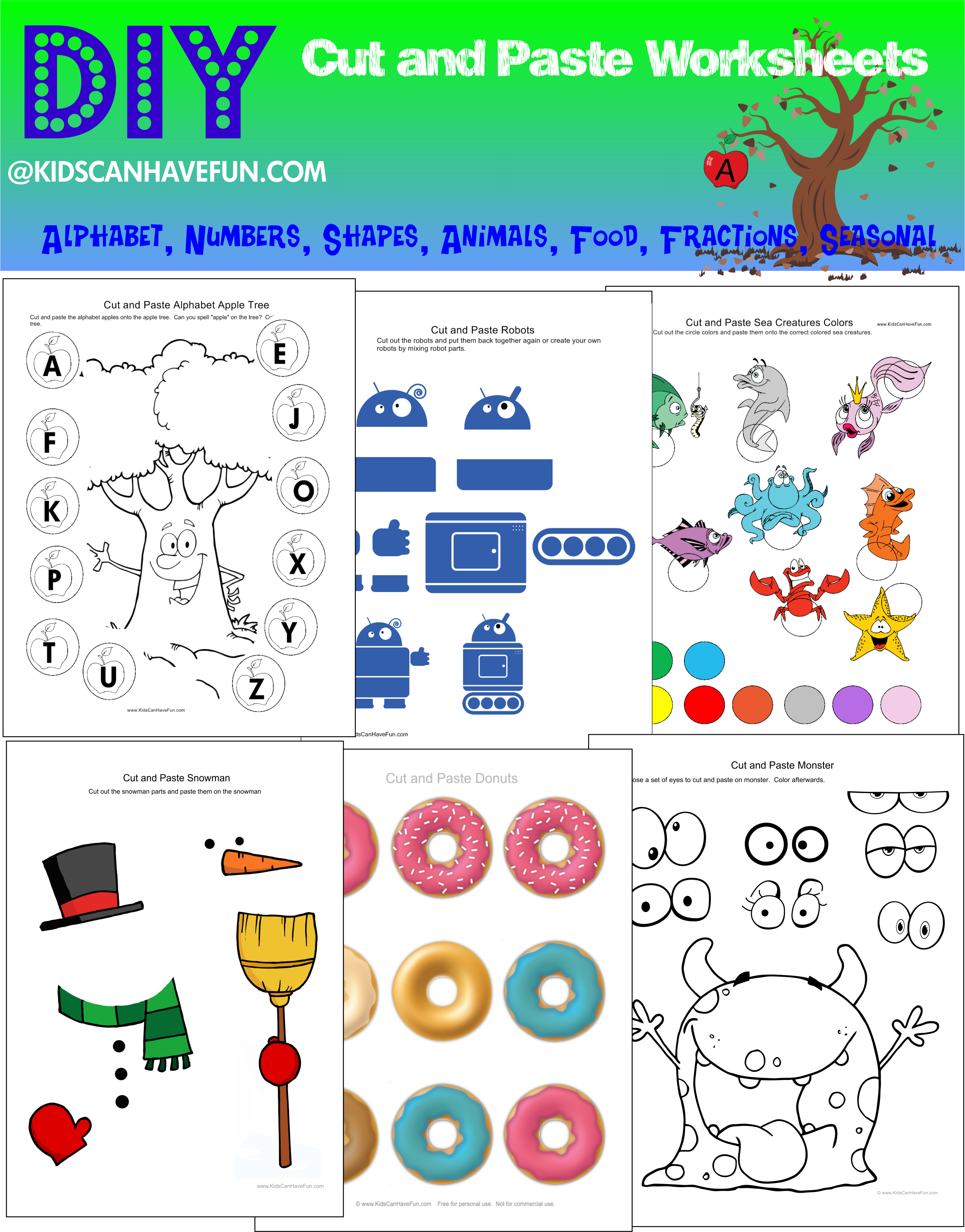 diy cut and paste worksheets for kids http www kidscanhavefun com