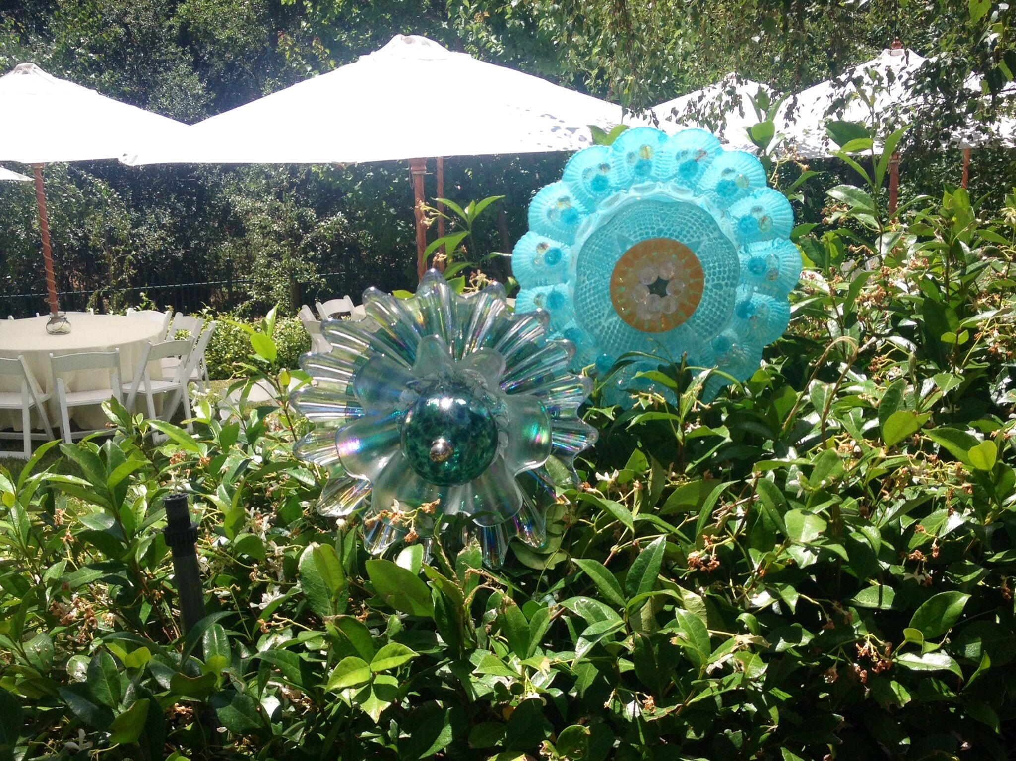Glass yard art  Recycled glass flowers  Glass Yard Art  Pinterest