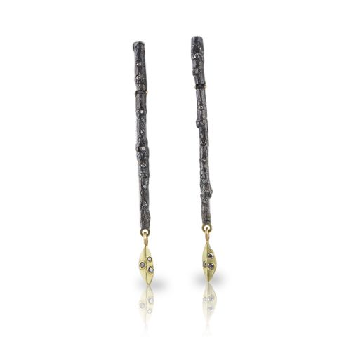 Branch Earrings in 18ky gold, oxidized fine silver and diamonds.