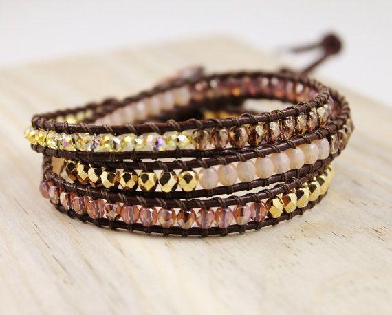 Gold Brown Peach Beaded Wrap Bracelet Brown Greek by EleriaJewelry