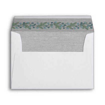 winter pine greenery wedding 5x7 envelope 5x7 envelopes greenery