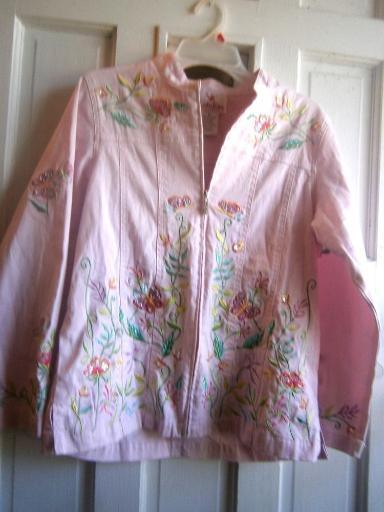 Womens/teen Quacker Factory floral butterfly sparkle jacket