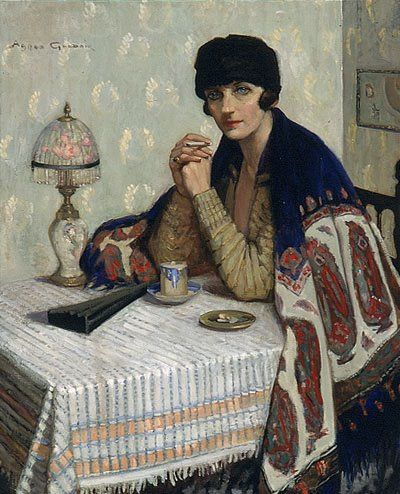 Girl with cigarette (1925) by Agnes Noyes Goodsir (18 June 1864 Portland, Victoria – France 1939''...  #French inspiration
