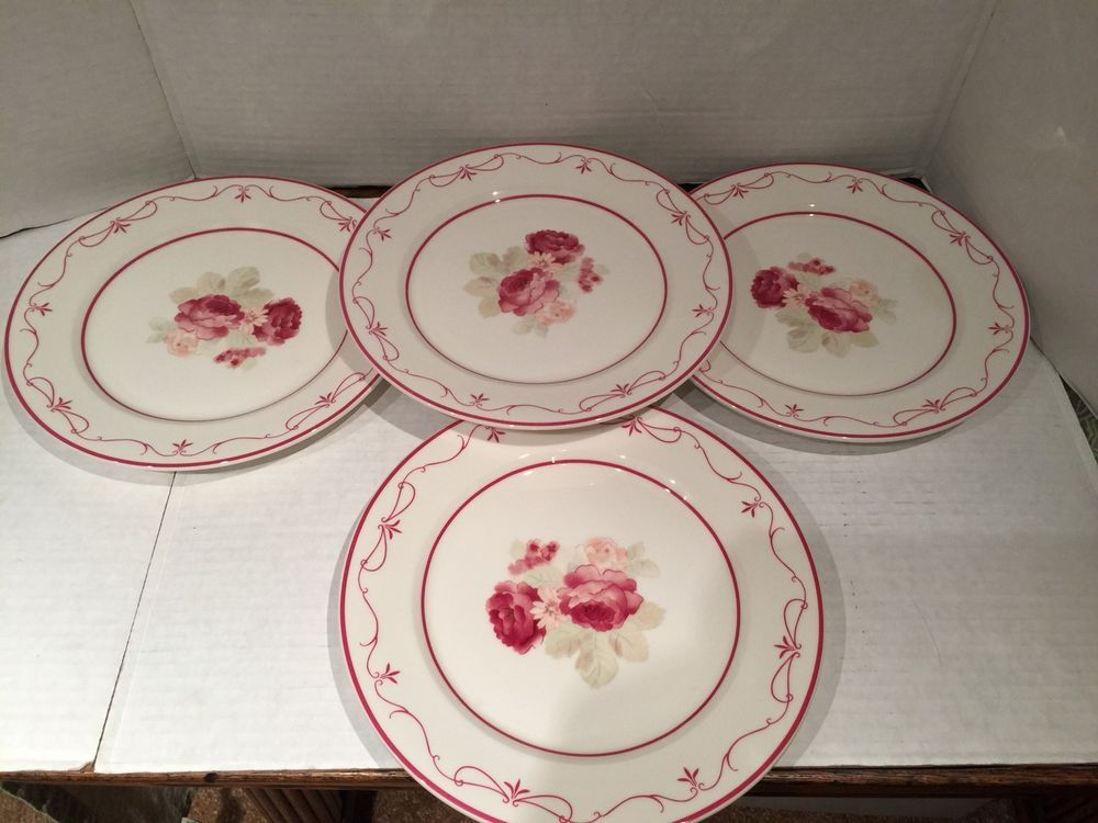 Etonnant Set Of 4 Waverly Garden Room Vintage Rose Dinner Plates #Waverly
