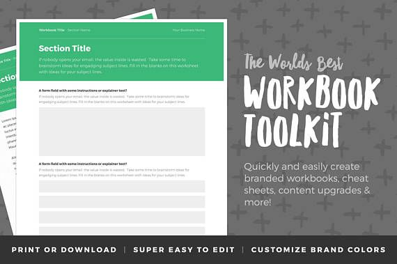 Workbook Template - Workbook Design - Worksheet Template ...