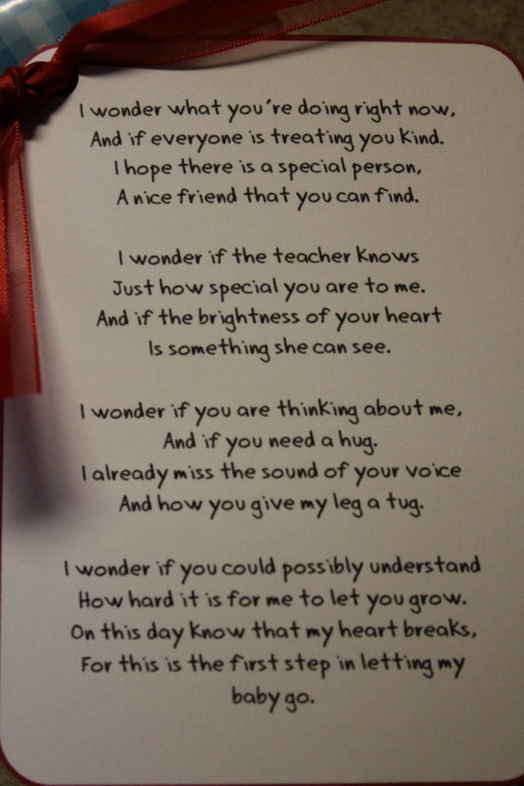 I wonder... Love this! first day of school poem..sniff,sniff..