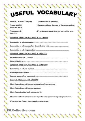 This paper contains useful vocabulary and phrases when you write a this paper contains useful vocabulary and phrases when you write a complaint letter esl spiritdancerdesigns Choice Image