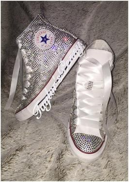 91619a79ad8d Bling Converse crystallized with Swarovski and rhinestones. Bride Sneakers