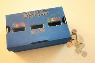 Diy Piggy Bank Going To Use The Painted Shoe Box Idea But Give It One Slot For Savings And Have A Monthly Amount Check Marking Off Months