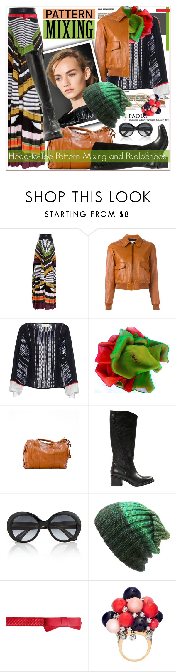 """""""Head-to-Toe Pattern Mixing and PaoloShoes"""" by spenderellastyle ❤ liked on Polyvore featuring Mary Katrantzou, Yves Saint Laurent, Gucci and Boutique Moschino"""