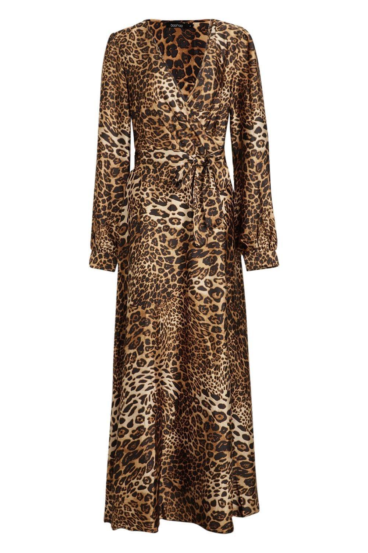 521c10b57299 Leopard Print Satin Maxi Dress in 2019 | Леопардовое платье ...