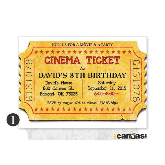 Movie Ticket Invitation Printable Movie Party Invite Movie Ticket - ticket invitation template
