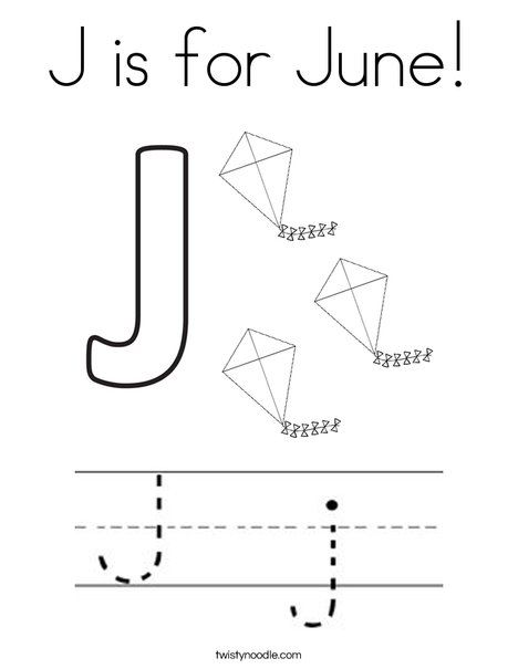 j is for june coloring page twisty noodle - June Coloring Pages