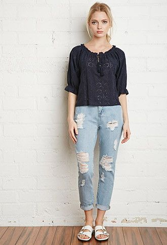 Embroidered Eyelet Peasant Blouse | Forever 21 - 2000173429