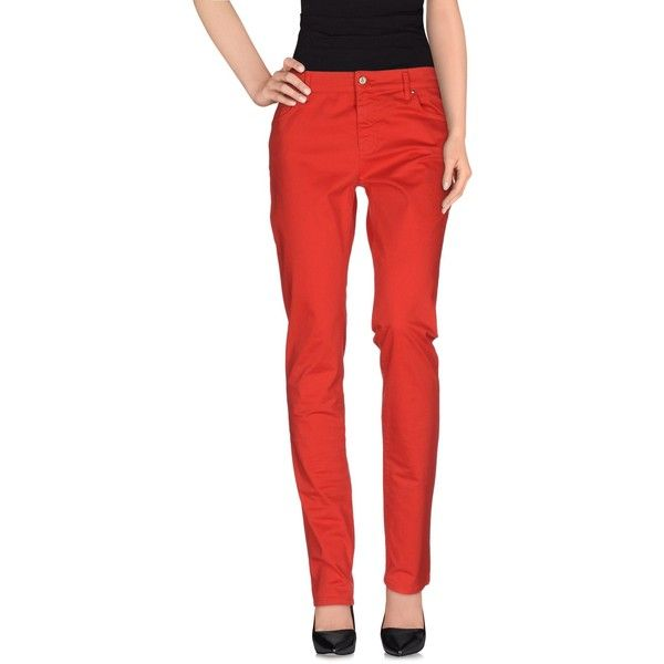 Versace Jeans Casual Trouser ($145) ❤ liked on Polyvore featuring pants, red, zipper pants, 5 pocket pants, five pocket pants, cotton pants and versace