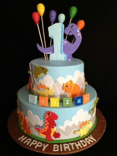Tremendous Baby Dinosaurs 1St Birthday Cake I Made For A Little Boy Named Funny Birthday Cards Online Inifofree Goldxyz
