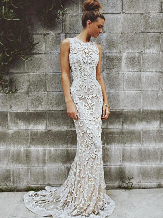 White Fitted Wedding Dress