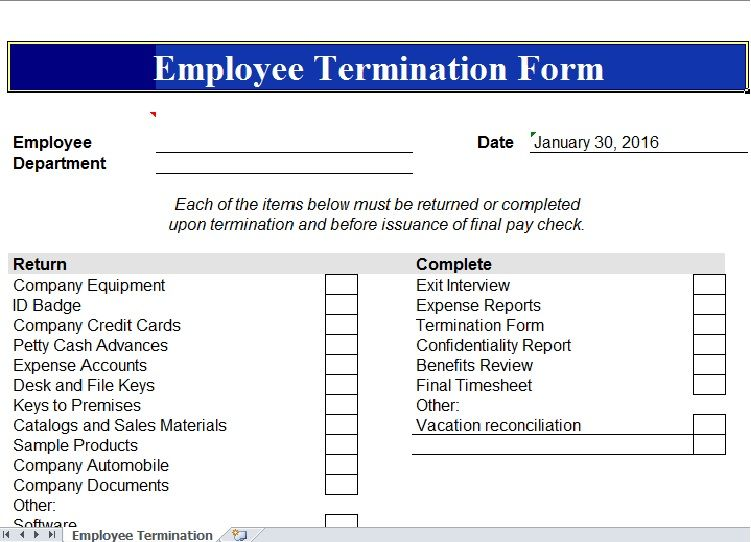 Employee Termination Template  Excel Templates    Template