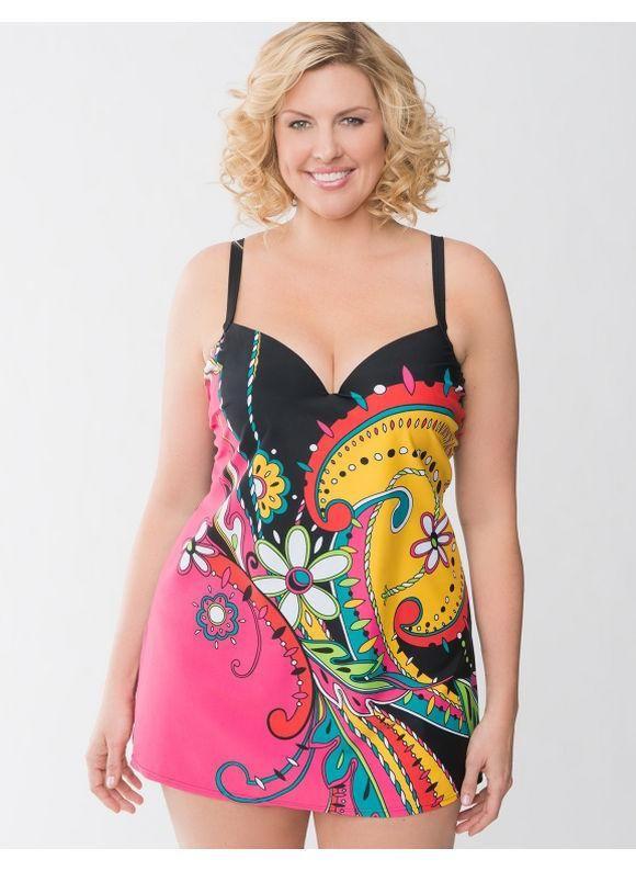 c184e9658b Lane Bryant Plus Size Swirl print swim dress with built in bra - - Women s  Size