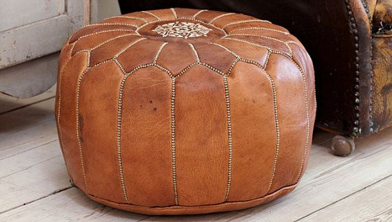 Tan Moroccan Leather Pouf By Maisonmarrakech On Etsy 89