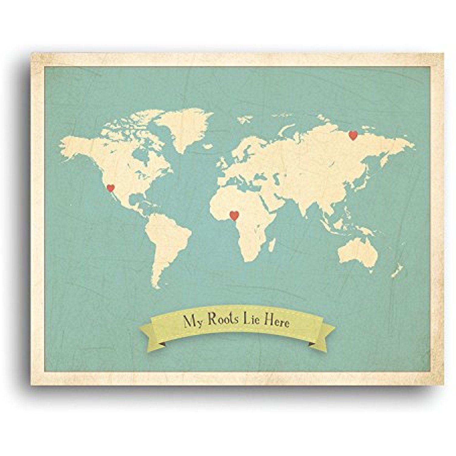 My roots personalized world map 16x20 inch canvas kids world map my roots personalized world map 16x20 inch canvas kids world map wall art childrens gumiabroncs Gallery