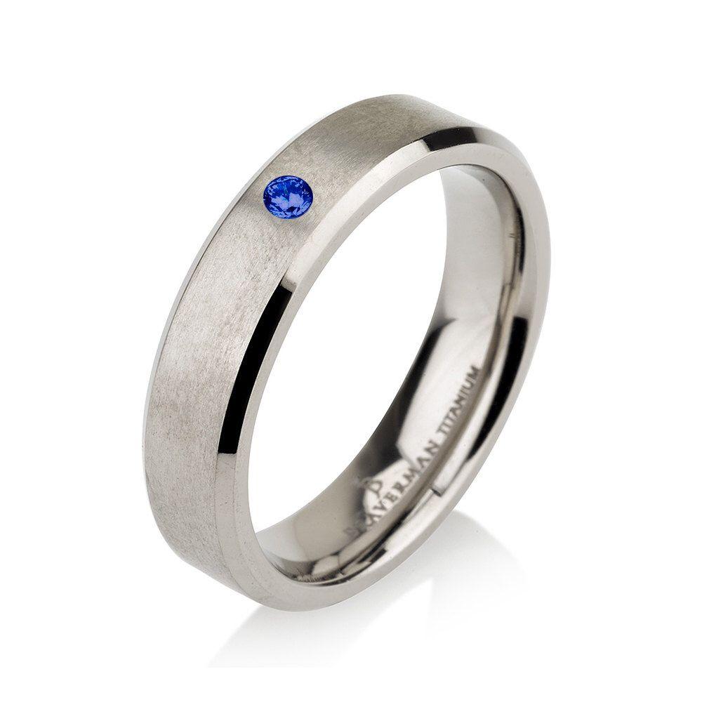 Blue Sapphire Titanium Wedding Band Satin Brushed, Men Titanium Rings, Mens Wedding  Band,