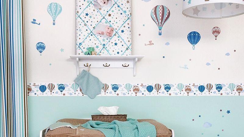 Heißluftballons mint Baby kinderzimmer, Babyzimmer