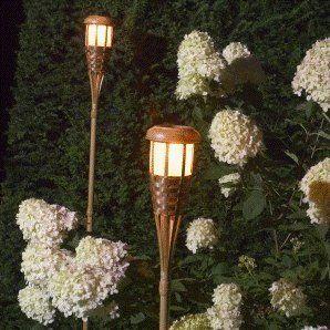 Unique  Garten Solarfackel Lampe im coolen Bambus Design Ticky Style mit wundersch nem warmem Flackerlicht Kerzeneffekt Solarenergie Solar Lame Gartenfeuer