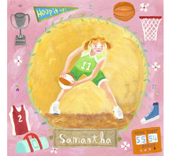 Oopsy Daisy Fine Art For Kids Basketball Star - Girl Canvas ...