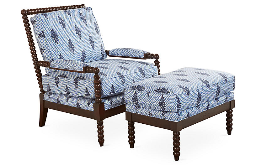 Bankwood Spindle Chair Ottoman Blue Miles Talbott In 2020 Chair And Ottoman Spindle Chair Chair And Ottoman Set
