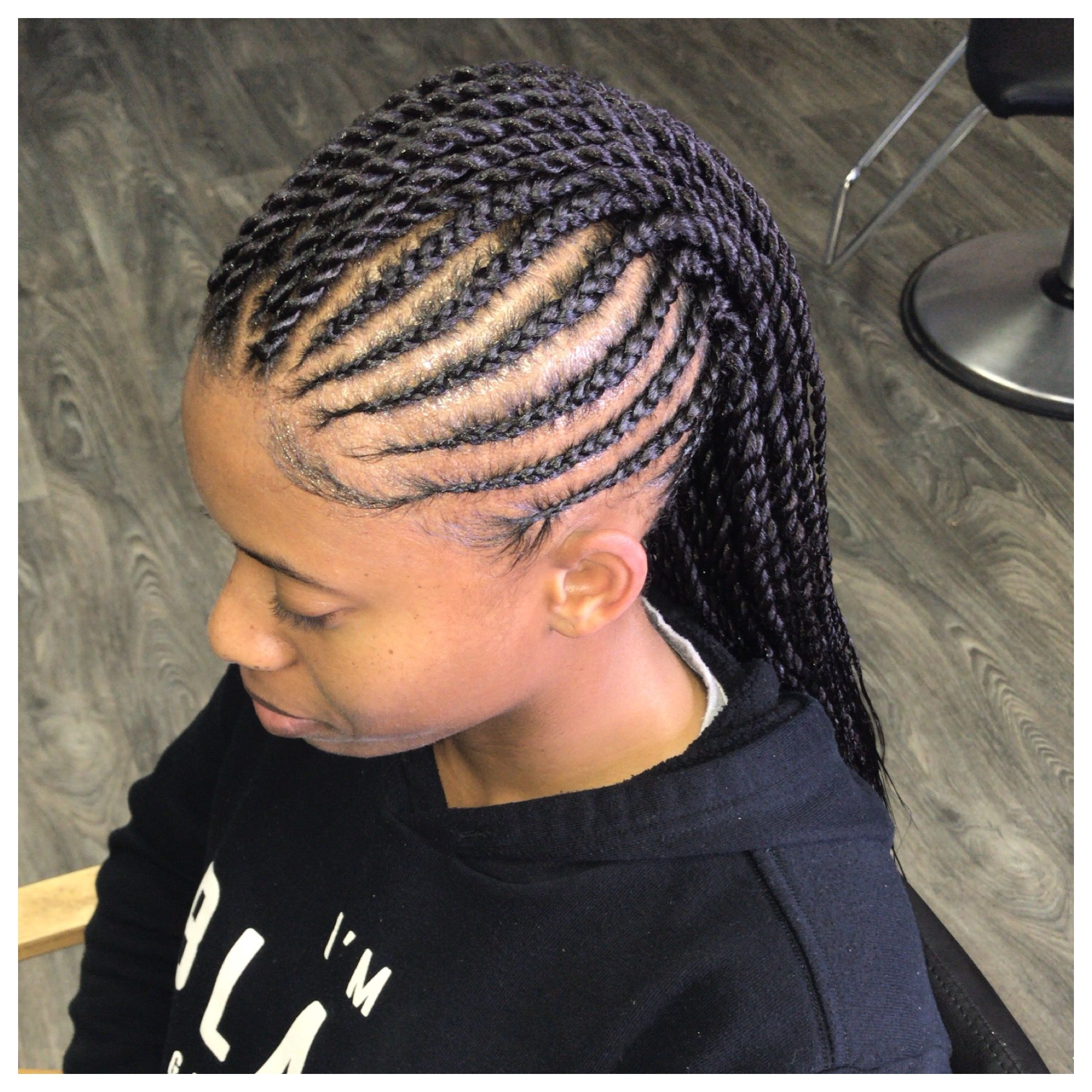 Feedin Mohawk With Senegalese Twist Kids Hairstyles Natural Hair Styles Braid Styles