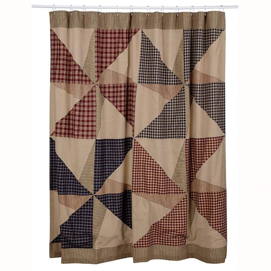 Vhc Brands Providence Country Primitive Patchwork Fabric Shower
