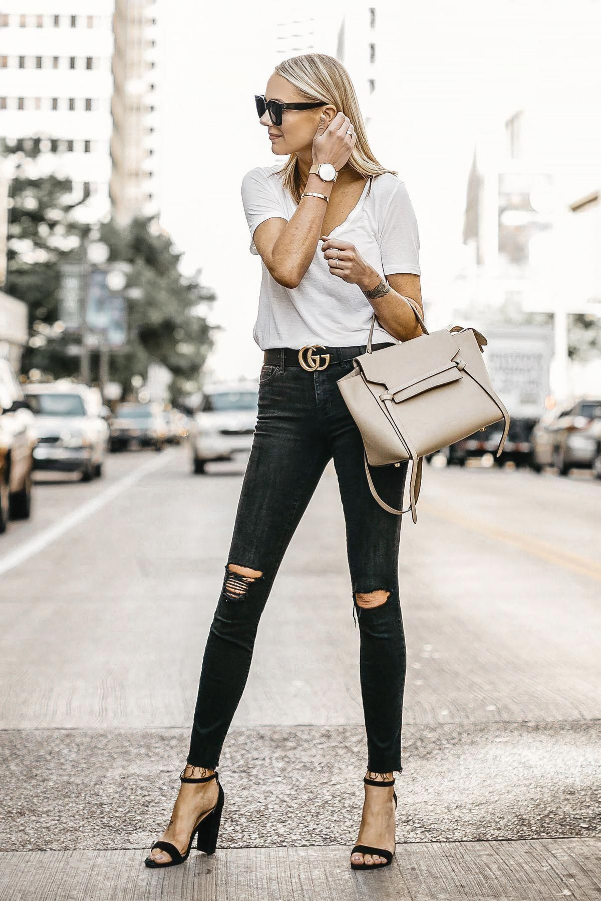 3257b8a9c36 Blonde Woman Wearing White Tshirt Black Ripped Skinny Jeans Gucci Marmont  Belt Black Ankle Strap Heeled Sandals Celine Mini Belt Bag Fashion Jackson  Dallas ...