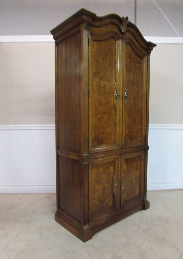 White Furniture Company Corinthian Burled Walnut Clothing Armoire,  Wardrobe, Che