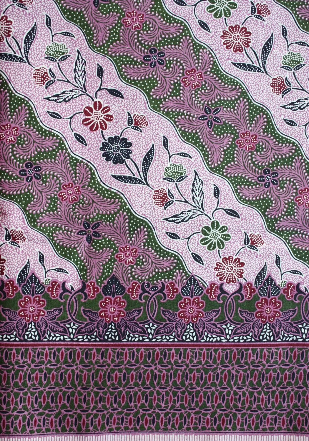 Maroon Floral Stripes Batik Fabric