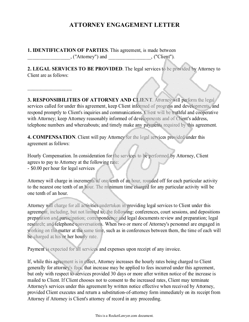 Attorney Cover Letter Attorney Engagement Letter For Law Firm Client  Engagement