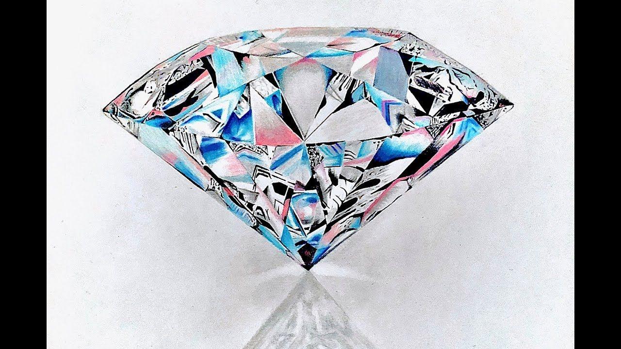 How To Draw A Realistic Diamond Youtube Diamond Drawing