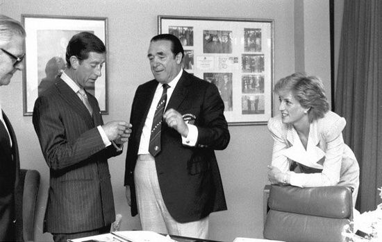 1986-07-30 Diana and Charles visit Canning House in Edinburgh to see the Commonwealth Games medals with Games sponsor Robert Maxwell