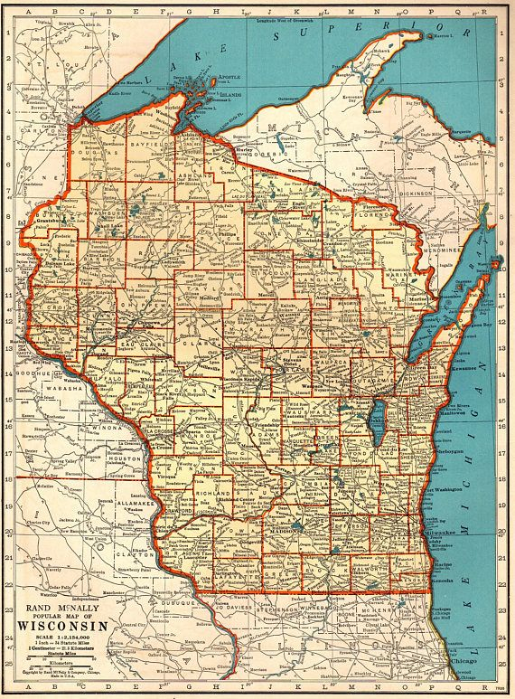 Michigan And Wisconsin Map.1940 Antique Wisconsin Map Vintage Map Of Wisconsin State Map