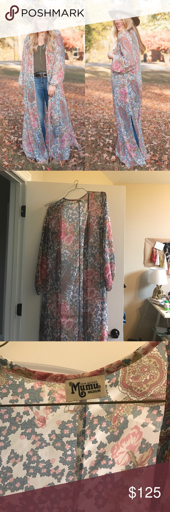 SMYM DRAGONFLY CAPE IN GREY GARDENS In perfect worn condition! Getting rid of some of my fav Mumu pieces to pay for LDR plane tickets 🙈 Doubles as Cape or Button up Maxi Show Me Your MuMu Sweaters Cardigans