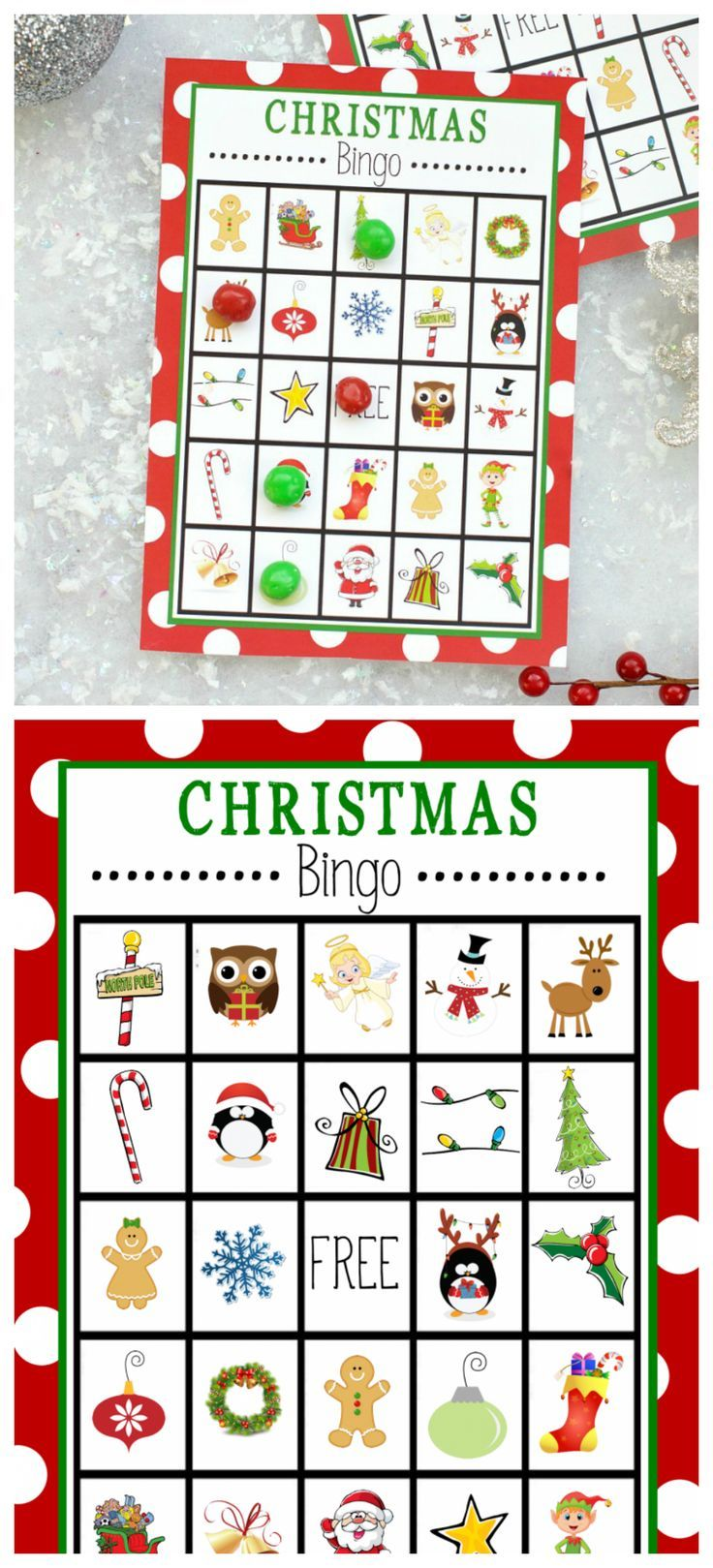 Free Printable Kids Christmas Bingo Game #holidayparties