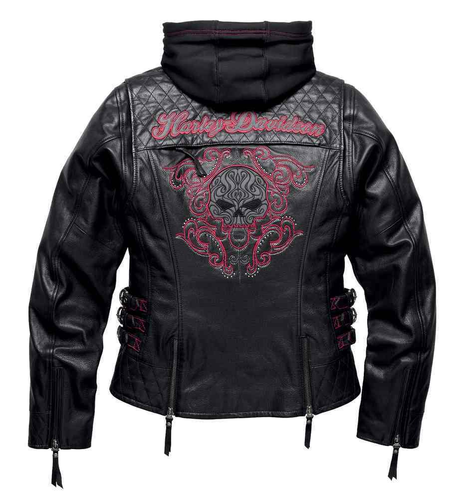 Harley Davidson Women S Scroll Skull 3 In 1 Leather Jacket Black 98104 16vw Harley Davidson Jackets Women Leather Motorcycle Jacket Women Harley Davidson Jacket [ 1001 x 940 Pixel ]