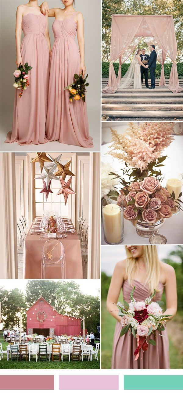 dusty pink sorbet wedding color ideas and single shoulder ...