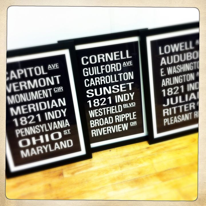 """The """"Indianapolis District Collection"""" prints from Arterx. Six Indy neighborhoods available: Irvington, Fountain Square, Downtown, Speedway, Meridian Kessler and Broad Ripple. www.homespunindy.com"""