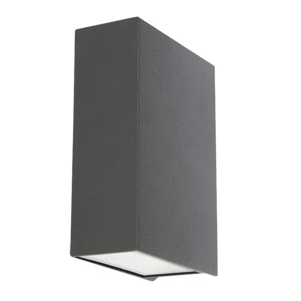 ledlux vice 6w square up down wall bracket in charcoal alfresco