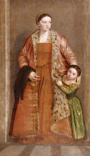 1551 Countess Livia da Porto Thiene with Her Daughter Porzia, by Paolo Veronese, at The Walters Art Museum in Baltimore, Maryland.  The colors!  Orange!  Green!  It makes my eyes happy.
