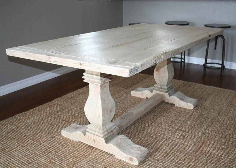 Custom Reclaimed Wood Trestle Table By Carpenter Jeff Santini Out Of  Oceanside, California. Lovely Repurposed Barnwood With A Whitewashed Finish  For A ...