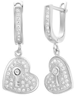 This fabulous 925 Sterling silver white platinum plated Drop Earrings would go great paired with our Silver heart locket with crystal.