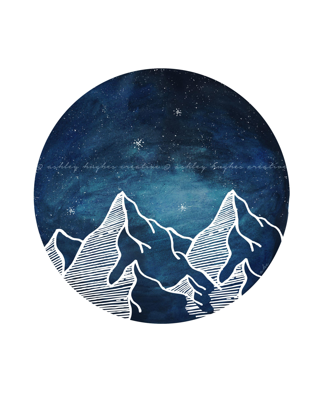 Etsy Art Blue Mountain Circle Watercolor Nature Night Galaxy Sky Minimal